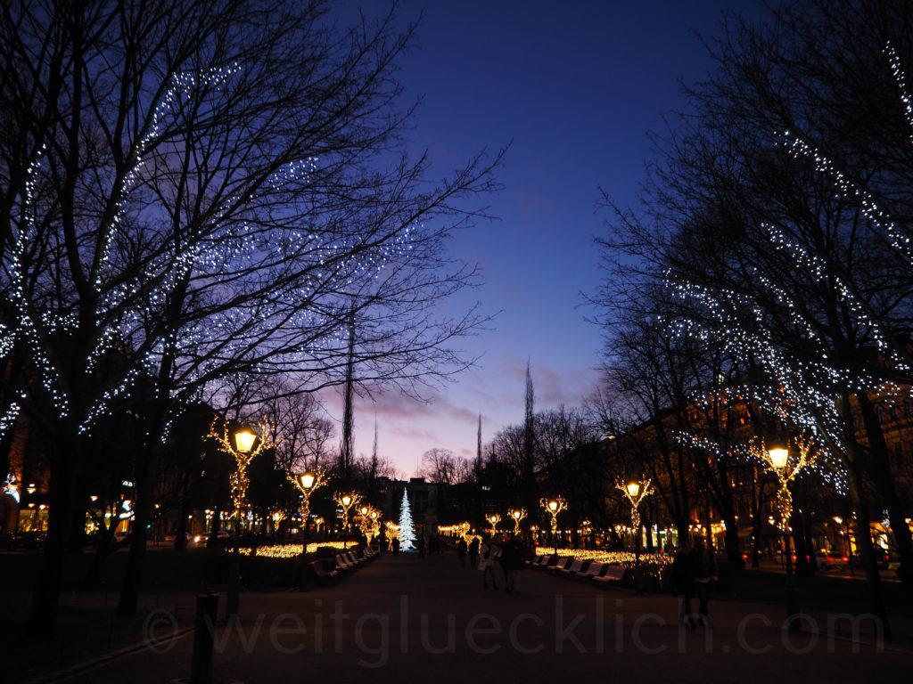 Esplanade Winterbeleuchtung Helsinki