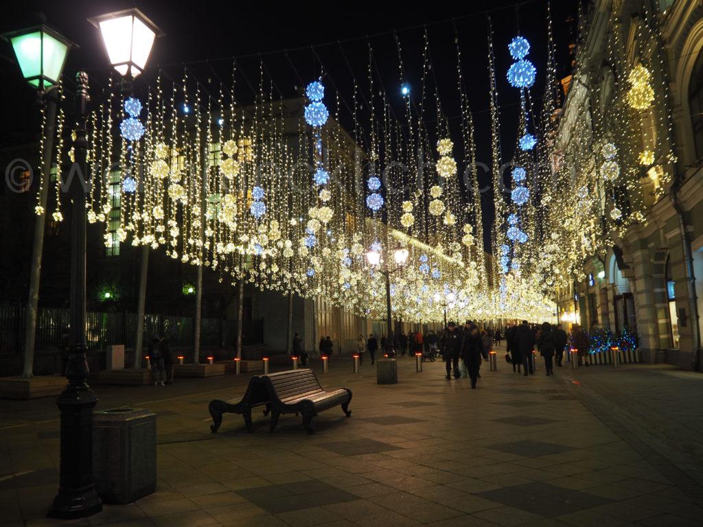 Moskau Zentrum Nikolskaya Beleuchtung Winter