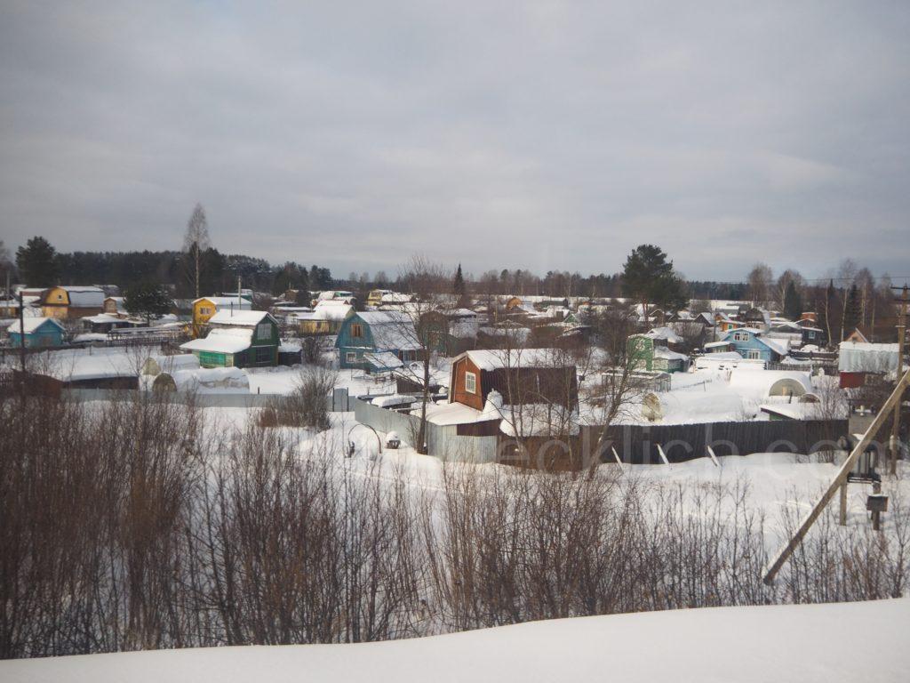 Kirow Stadtrand Russland Blick Transsibirische Eisenbahn Transsib