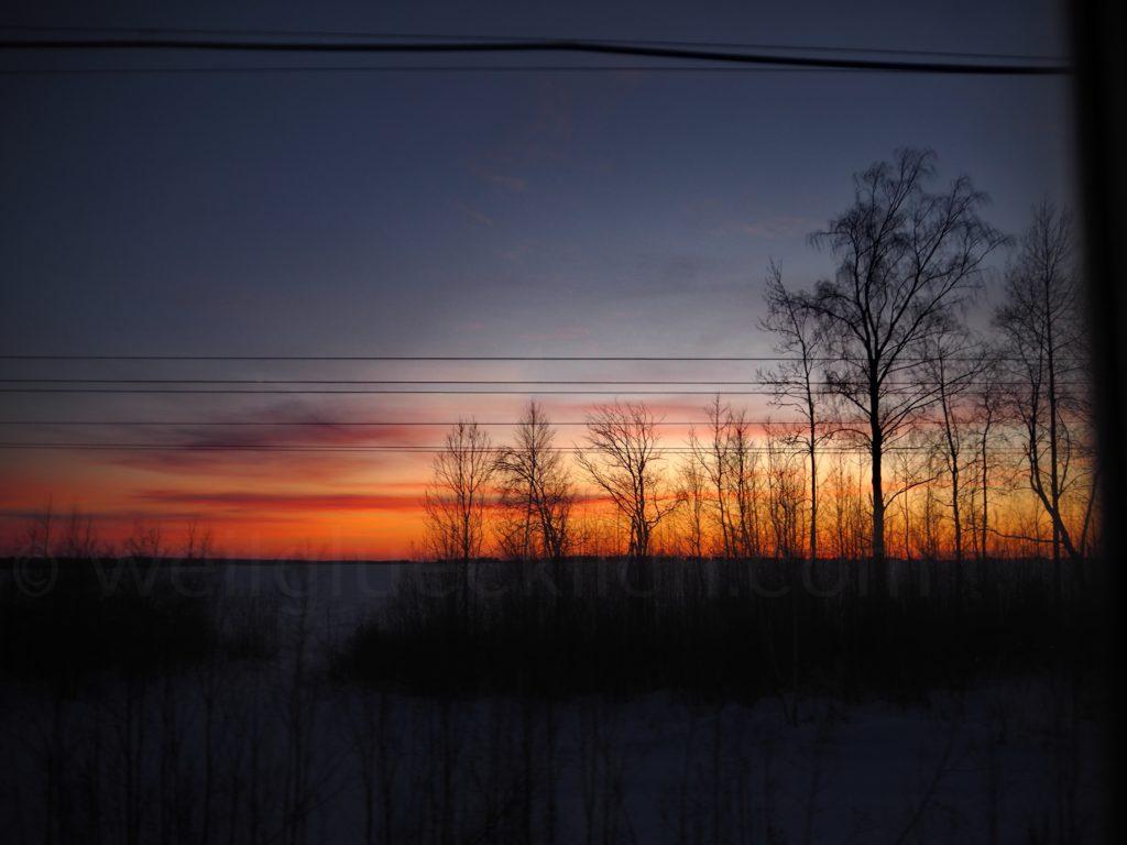 Transsibirische Eisenbahn Transsib Sonnenuntergang Russland
