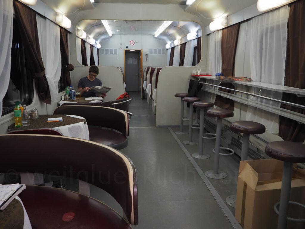 Transsibirische Eisenbahn Transsib Speisewagen Restaurant Russland