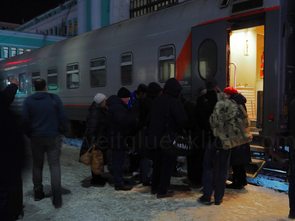 Transsibirische Eisenbahn Transsib Novosibirsk Einsteigen Russland