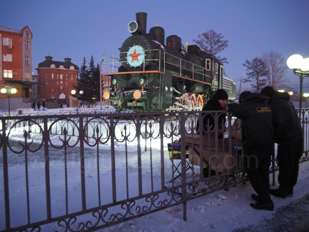 Transsibirische Eisenbahn Transsib Ilanskaya Omul Bahnsteig Verkauf Essen