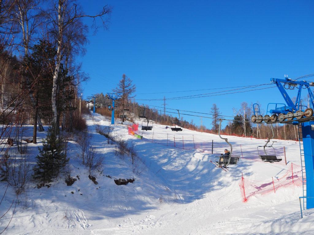 Listwjanka Baikalsee Sessellift Aussichtspunkt Winter Schnee
