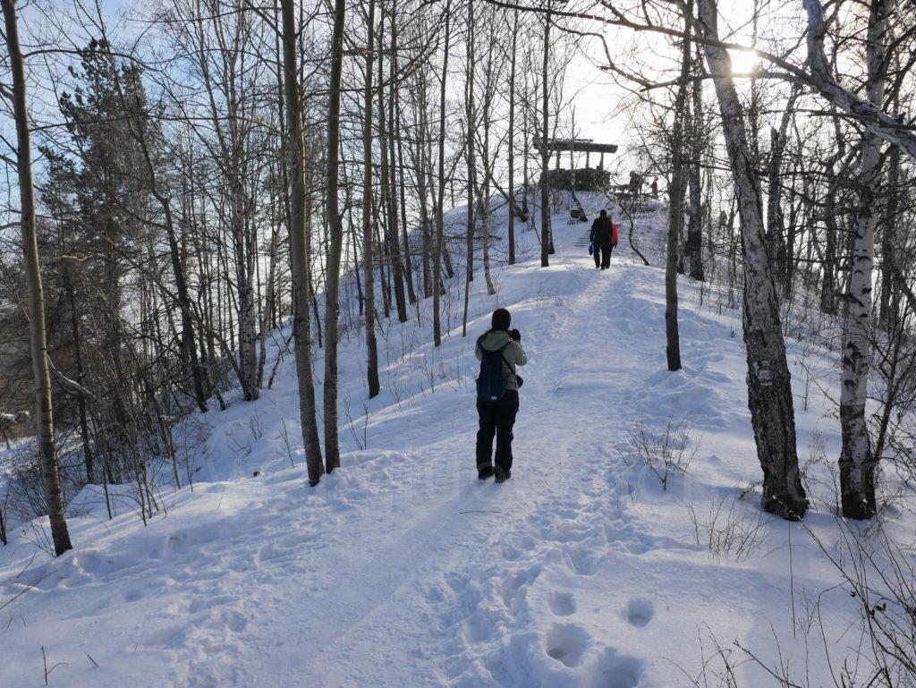 Listwjanka Baikalsee Aussichtspunkt Cherskij Stein Winter Schnee