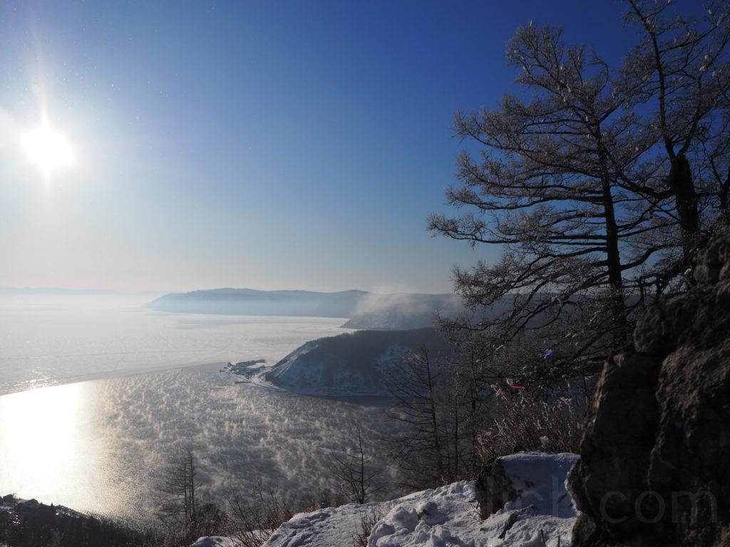 Listwjanka Baikalsee Port Baikal Angara Aussicht Winter Schnee