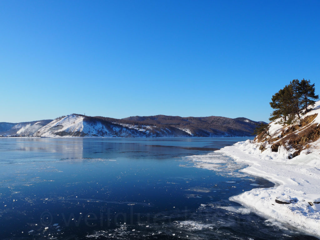 Listwjanka Baikalsee Winter Eis Port Baikal Angara Abfluss
