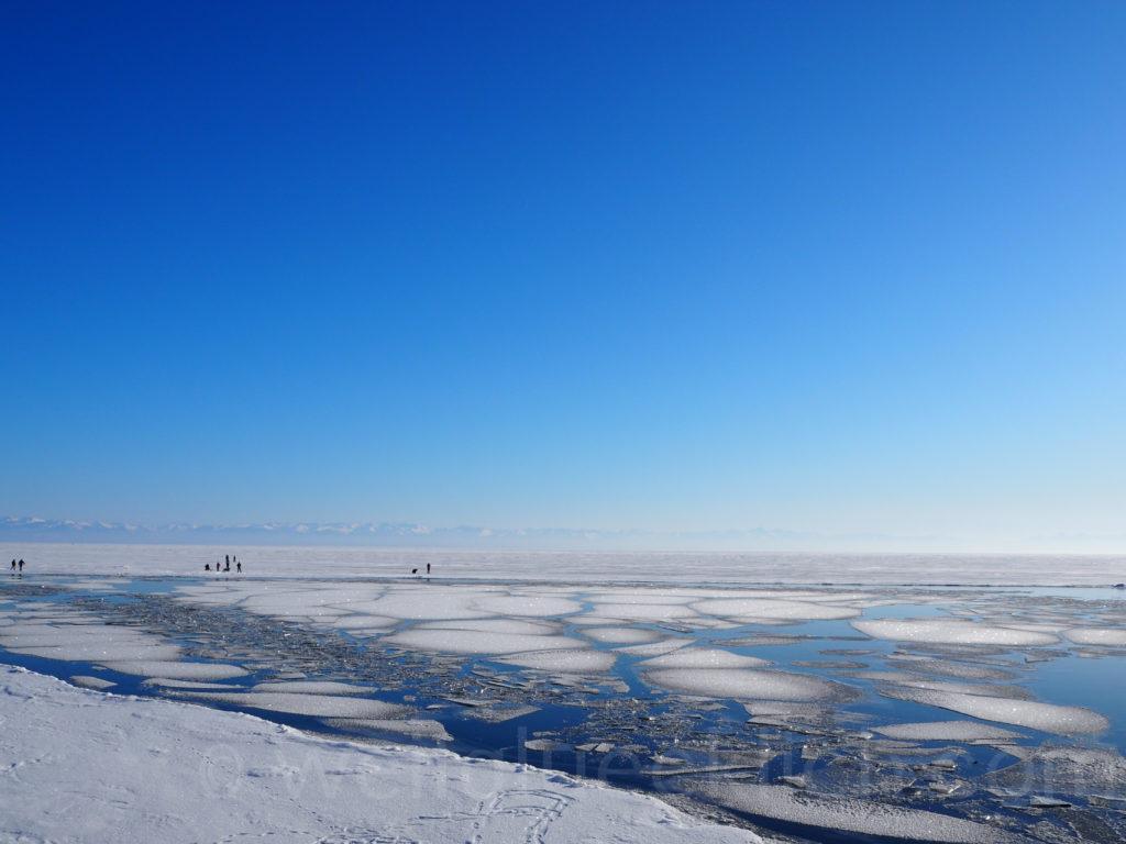 Listwjanka Baikalsee Winter Eis Abbruchkante Angara Eisschollen