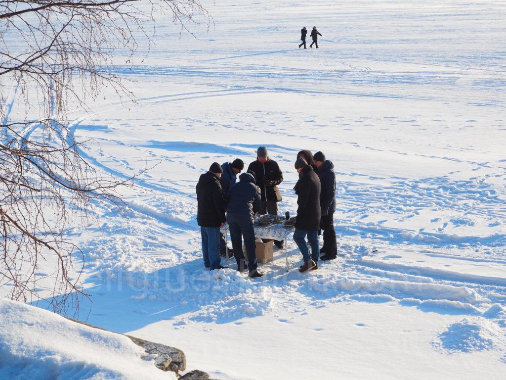 Listwjanka Baikalsee Winter Eis Picknick draussen