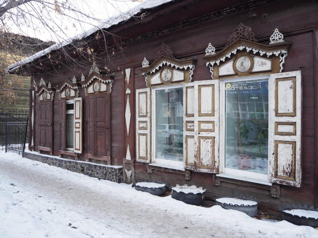 Irkutsk Sibirien Holzhaus Fenster verziert alt