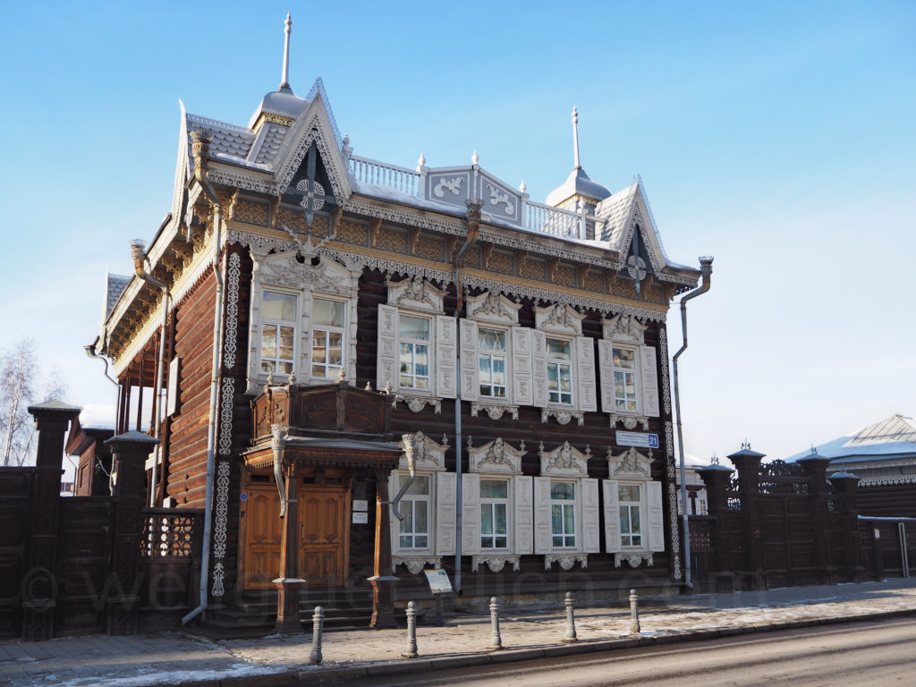 Irkutsk Sibirien Holzhaus verziert Schnitzereien Europa Haus Friedrich Engels Strasse