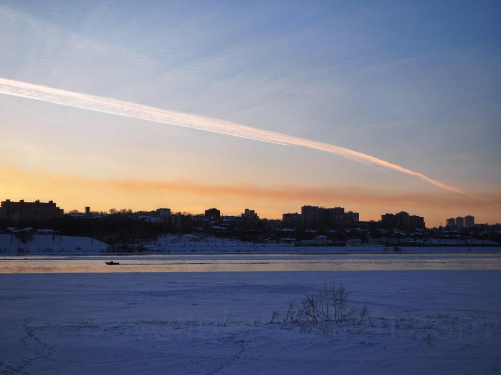 Irkutsk Sibirien Ufer Angara Sonnenuntergang