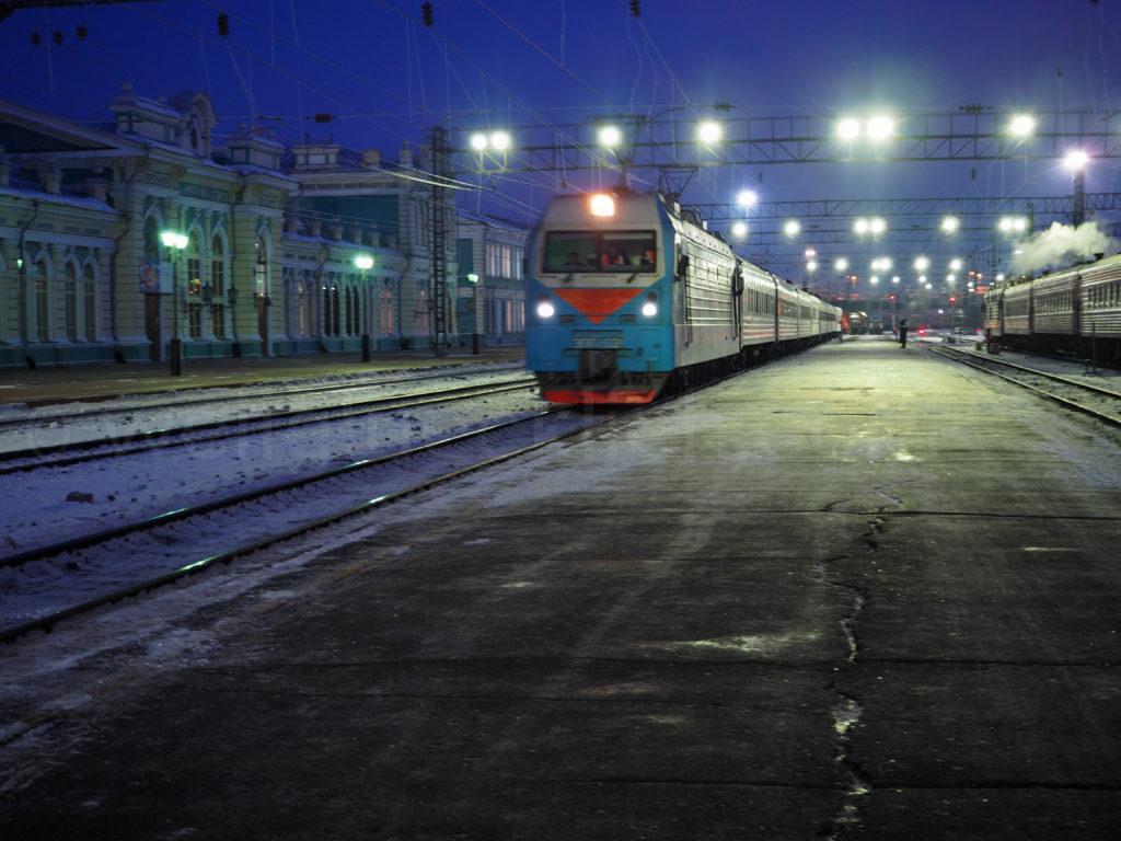 Transsib Transsibirische Eisenbahn Irkutsk Bahnsteig Winter