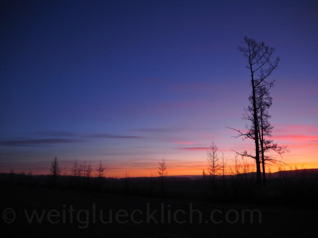 Bagdarin Taiga Strasse Sibirien Sonnenaufgang