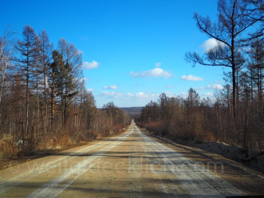 Landschaft Burjatien Sibirien Strasse Wald