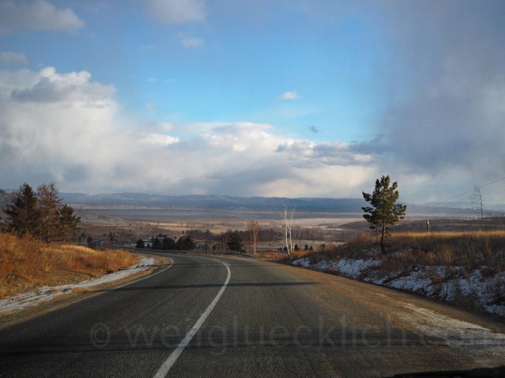 Landschaft Burjatien Sibirien Aussicht Strasse