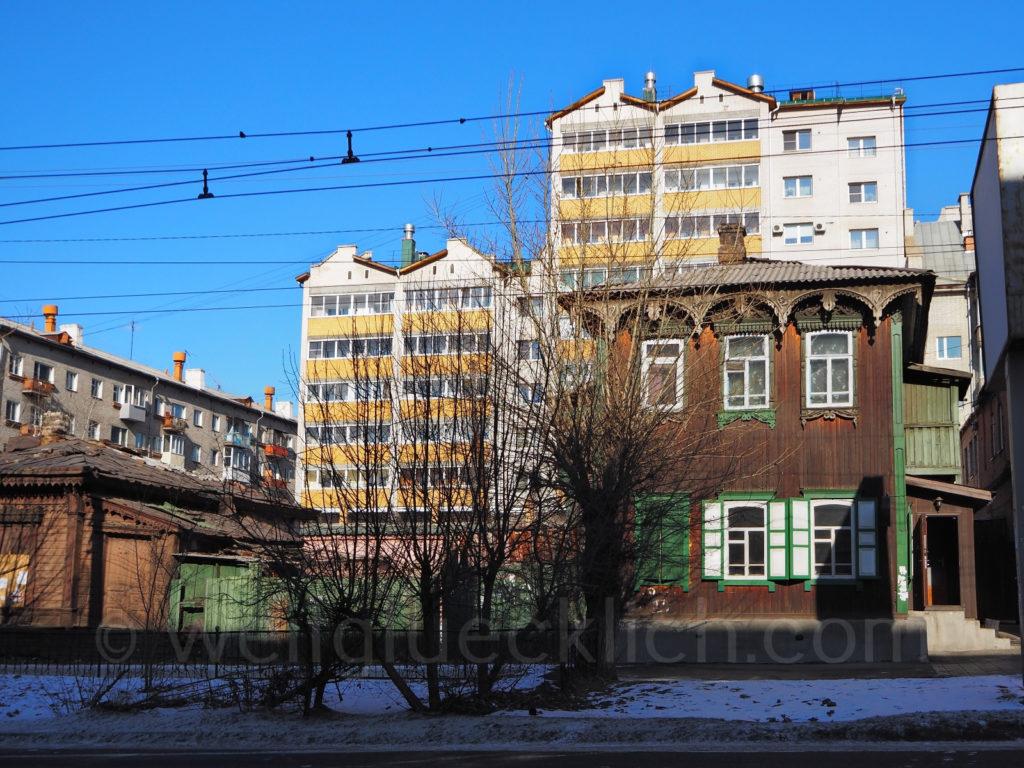 Tschita Transbaikalien Holzhaus Winter