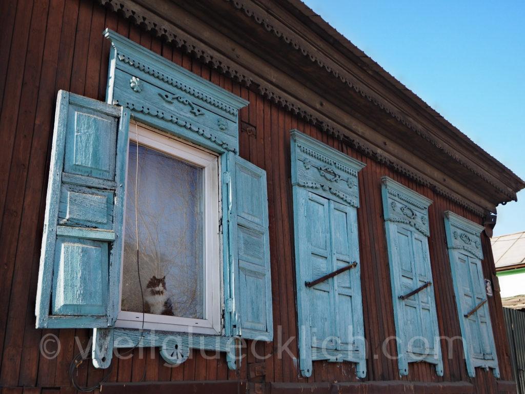 Tschita Sibirien Holzhaus Katze