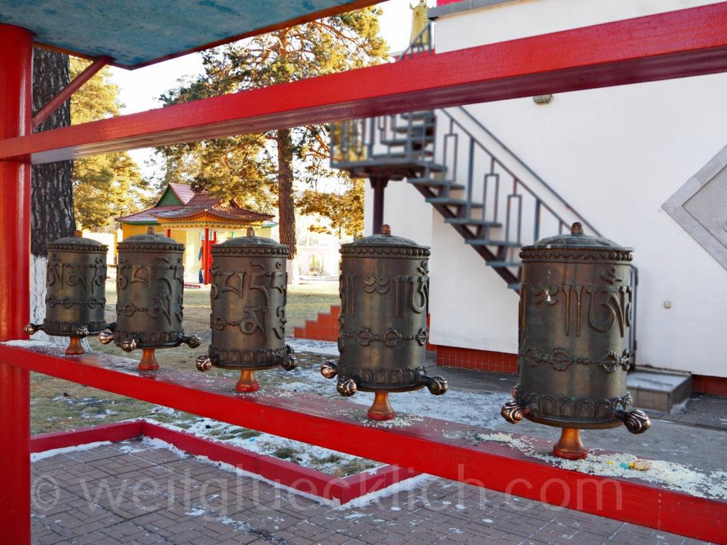 Tschita Transbaikalien Sibirien buddhistischer Tempel Gebetsmuehlen
