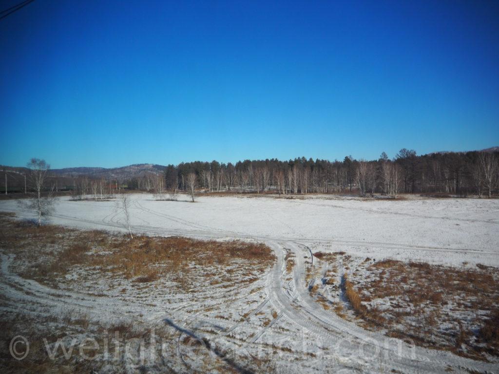 Transsib Transsibirische Eisenbahn Sibirien Winter Fluss