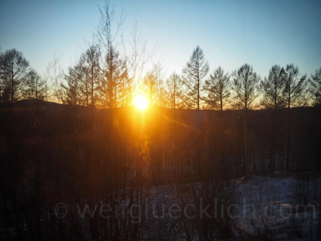 Weltreise 2020 Transsib Transsibirische Eisenbahn Sibirien Winter Sonnenuntergang