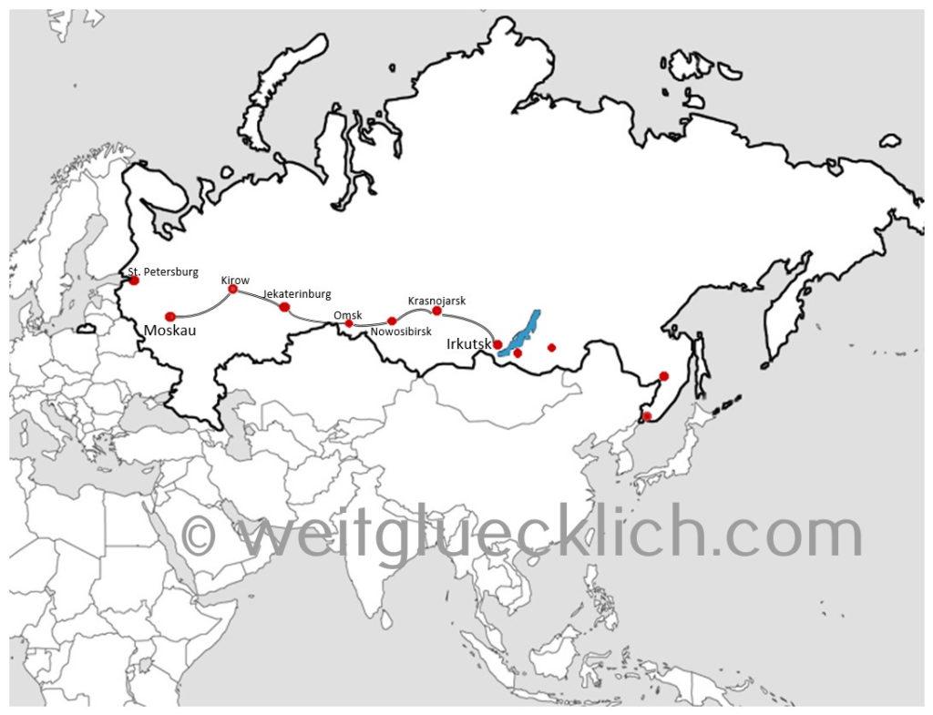 Transsibirische Eisenbahn Route Moskau Irkutsk Russland Transsib