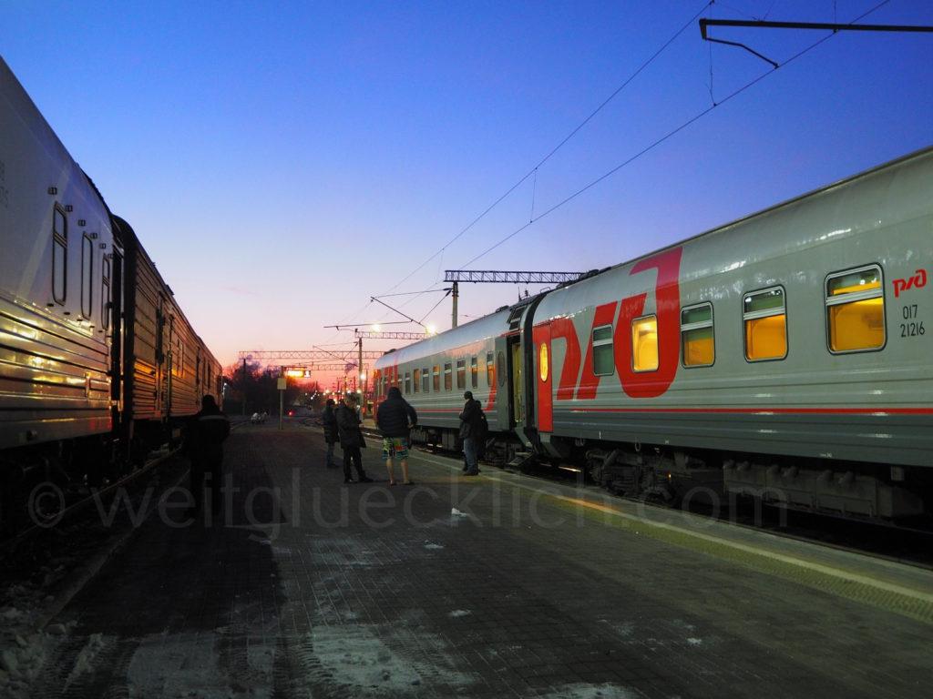 Weltreise 2020 Transsib Transsibirische Eisenbahn Sibirien Bahnsteig Chabarowsk Winter