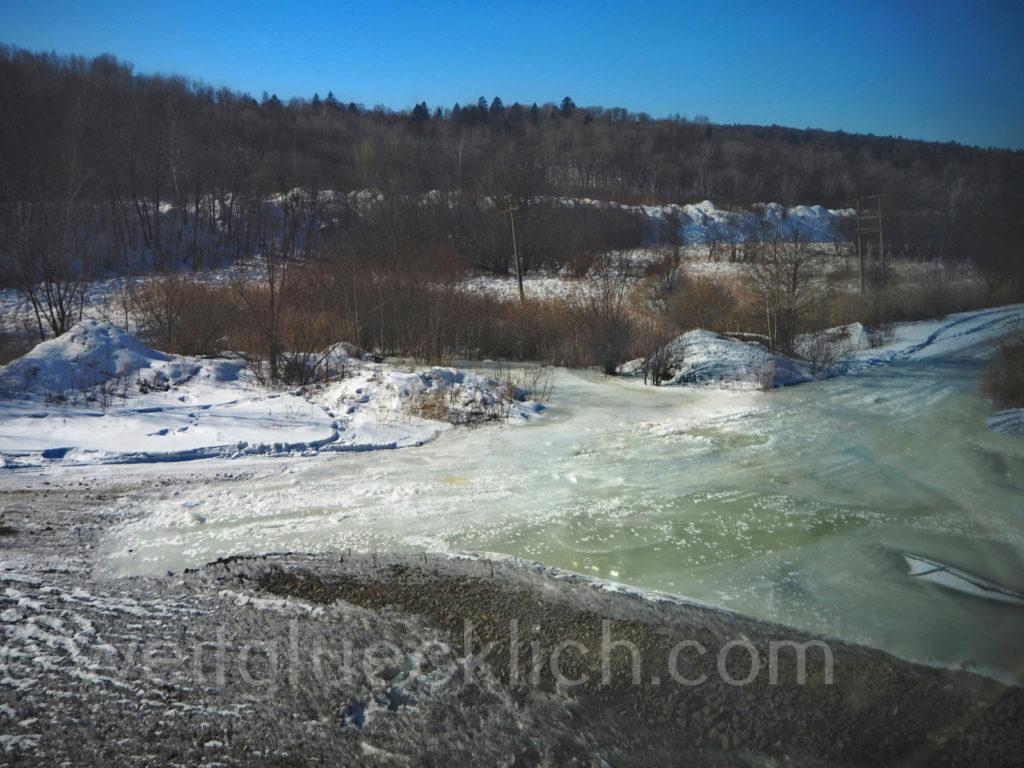 Weltreise 2020 Transsib Transsibirische Eisenbahn Sibirien Winter Zufluss Amur Fernost