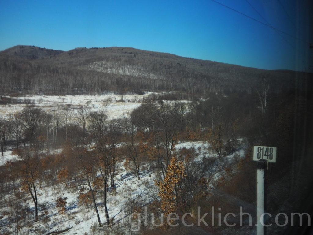 Weltreise 2020 Transsib Transsibirische Eisenbahn Sibirien Winter Kilometerschild 8148