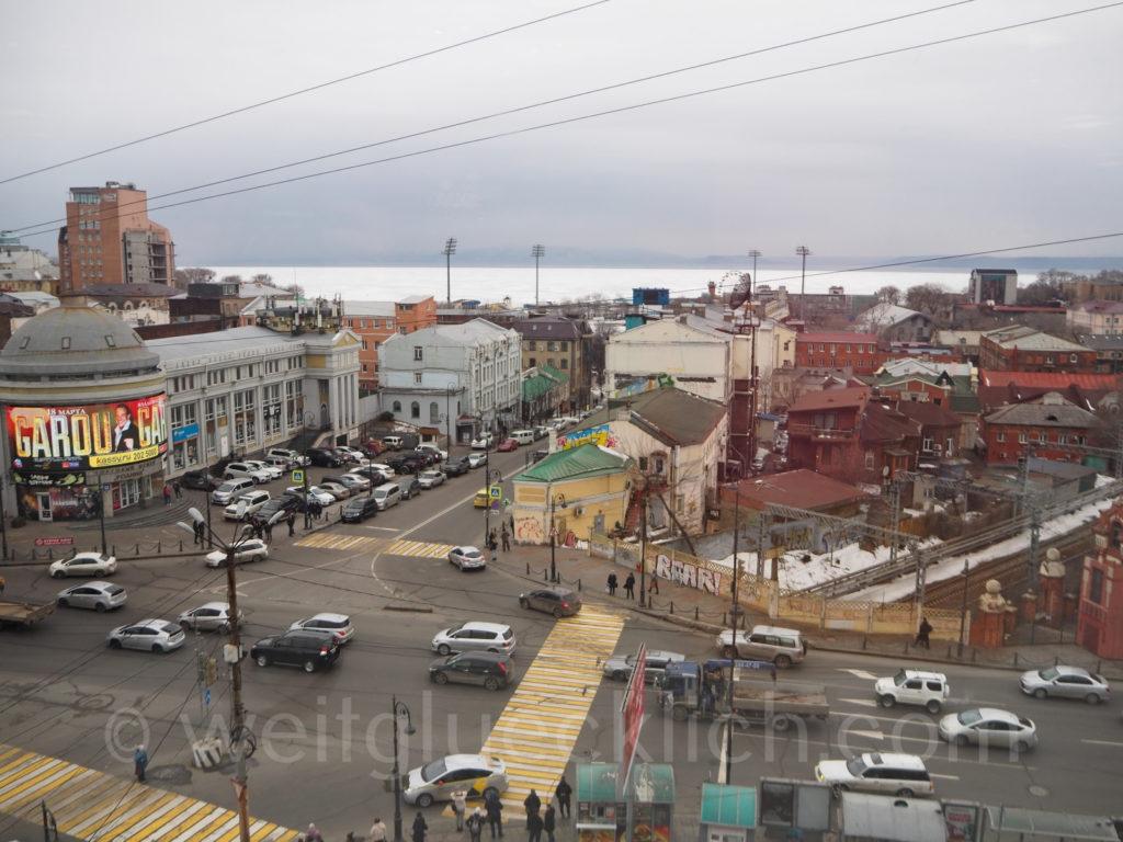 Russland Wladiwostok Blick Pazifik zugefroren