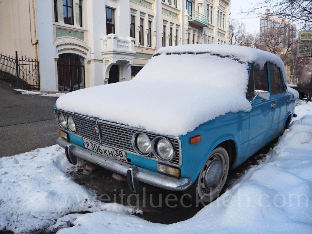 Russland Wladiwostok Pushkinskaya Strasse Winter Schnee