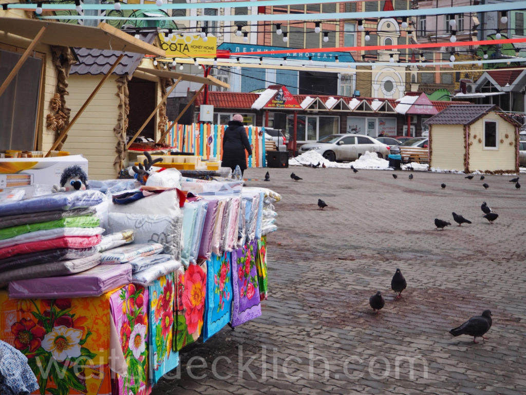 Russland Wladiwostok Markt Textilien Winter