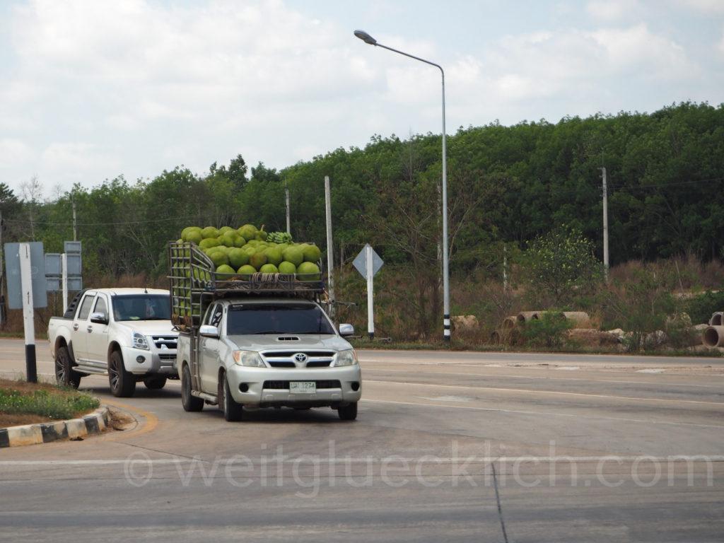 Thailand Bangkok Trat jack fruit on car Jackfrucht