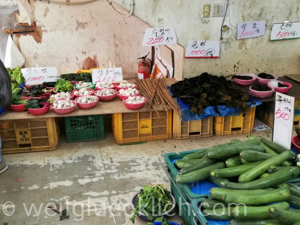 Weltreise 2020 Suedkorea Seoul Markt Gemüseladen