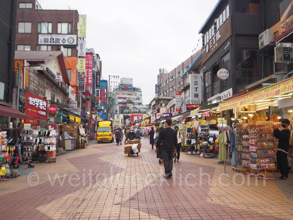 Weltreise 2020 Suedkorea Seoul Hongdae shopping streets Fussgaengerzone