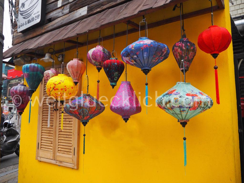 Weltreise 2020 Suedkorea Seoul vietnamesische Laternen