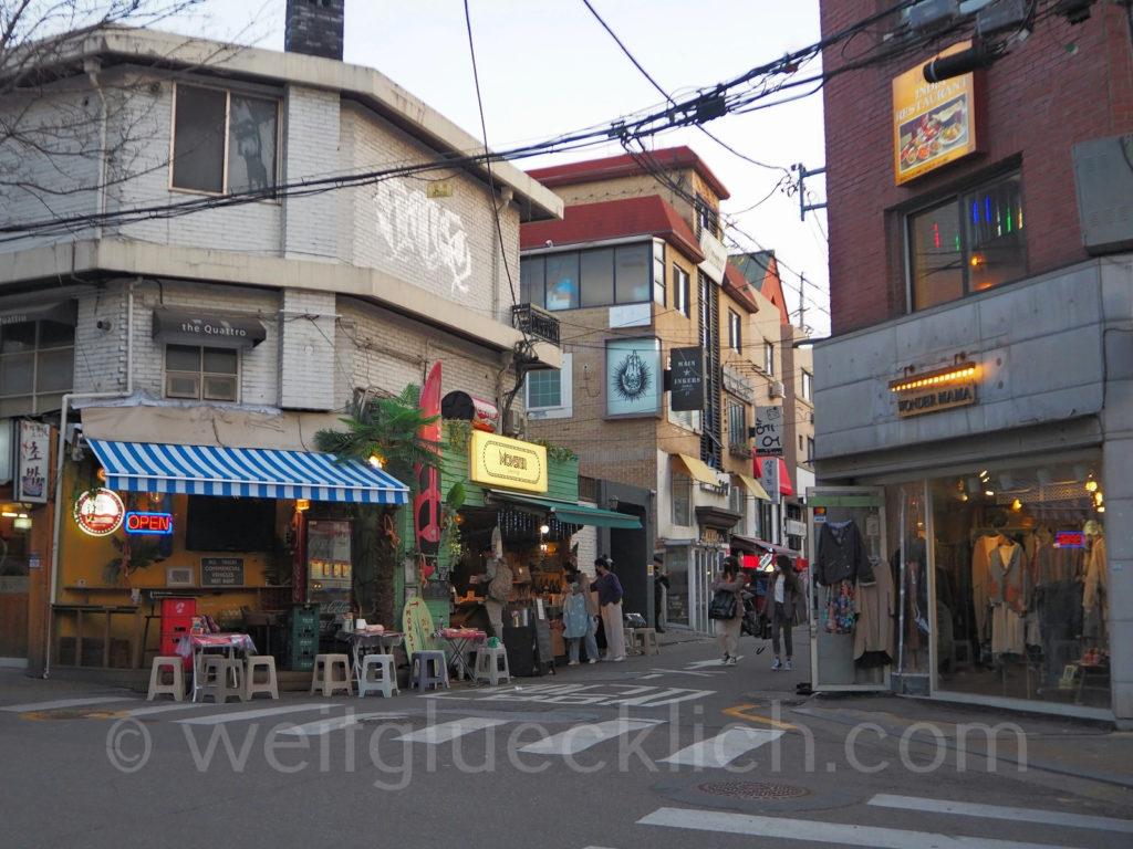 Weltreise 2020 Suedkorea Seoul Hongdae Garküchen street food vintage shopping