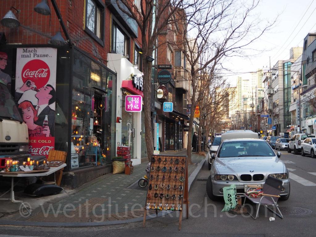 Weltreise 2020 Suedkorea Seoul Hongdae vintage shopping Einkaufsstrasse
