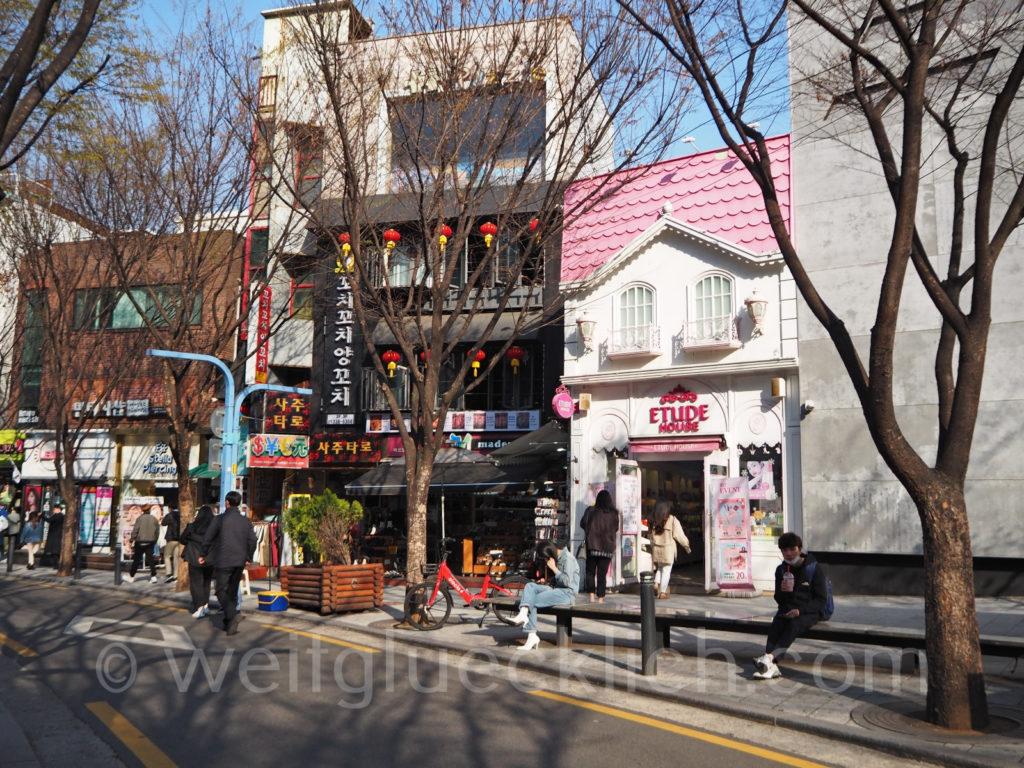Weltreise 2020 Suedkorea Seoul Hongdae shopping street Einkaufsstrasse