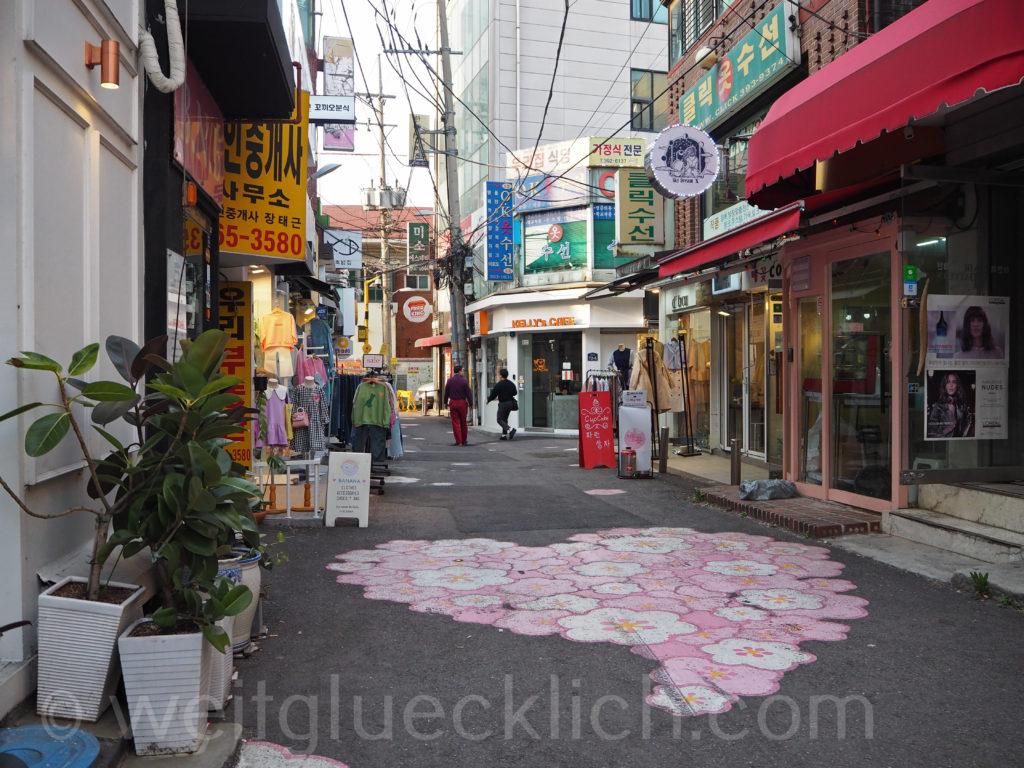 Weltreise 2020 Suedkorea Seoul Ewha Woman's University shopping street