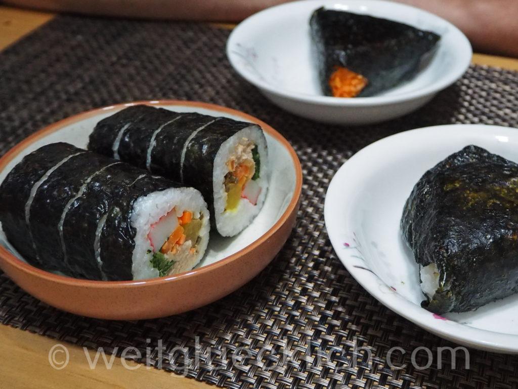 Weltreise 2020 Suedkorea Seoul Hongdae Hapjeong gimbap samgak kimbap Reisrolle Algen