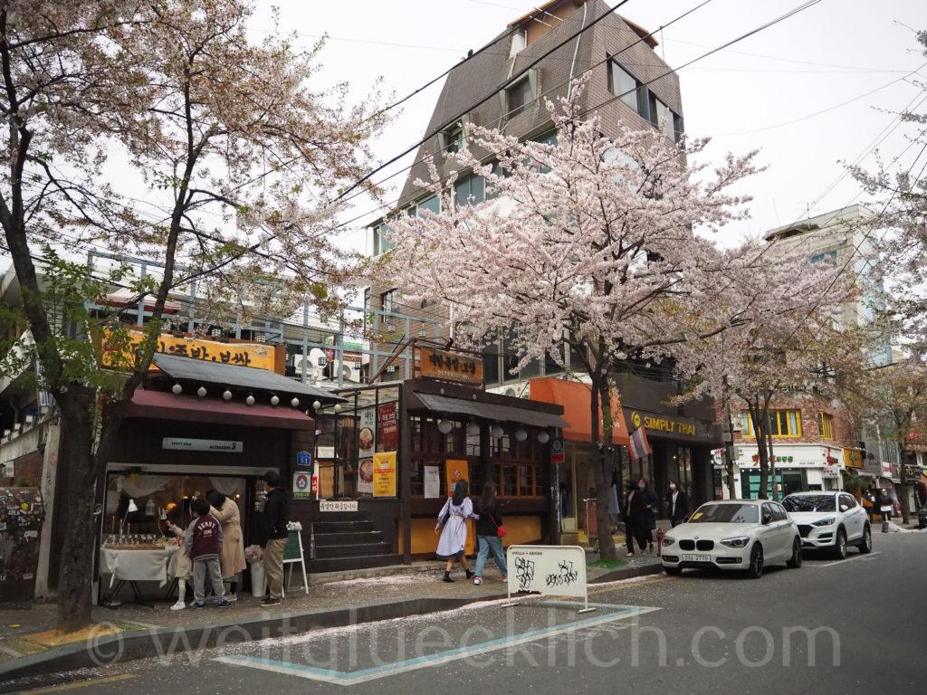 Weltreise 2020 Suedkorea Seoul Hongdae Hapjeong shops Kirschbluete