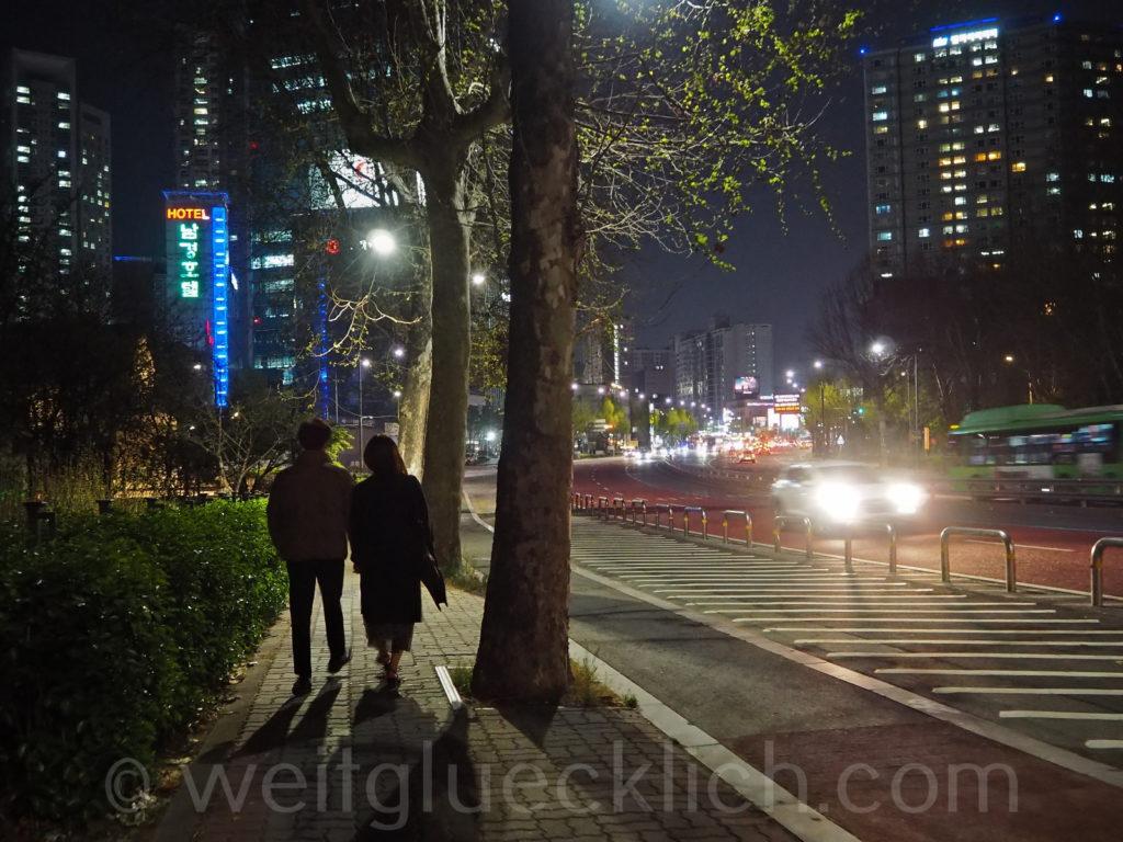Weltreise 2020 Suedkorea Seoul Hongdae Hapjeong Nacht Spaziergang