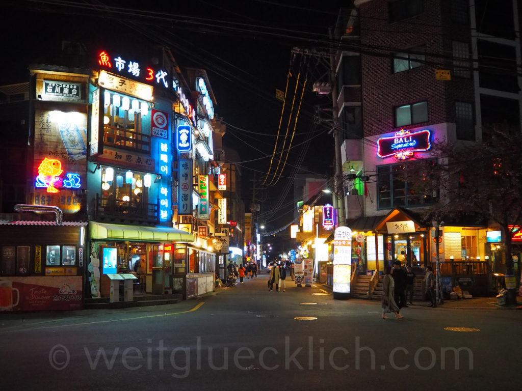 Weltreise 2020 Suedkorea Seoul Hongdae Hapjeong night bars restaurants Ausgehviertel