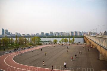 Weltreise 2020 Suedkorea Seoul Hangang Park Han Fluss Skyline