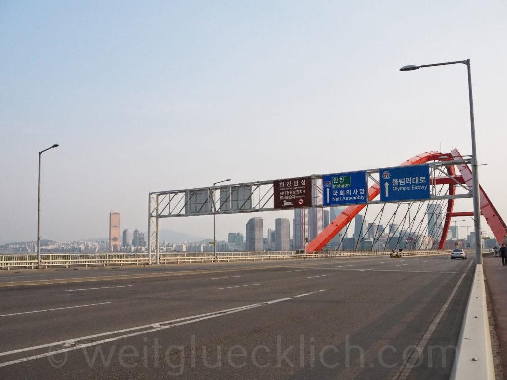 Weltreise 2020 Suedkorea Seoul Mapo-gu Seogang bridge Bruecke Han Fluss