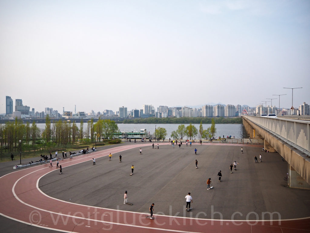 Weltreise 2020 Suedkorea Seoul Hangang Park Sportpark skaten