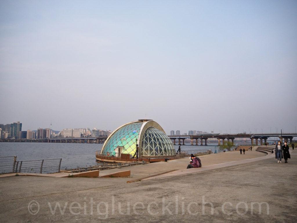 Weltreise 2020 Suedkorea Seoul Hangang Park floating stage