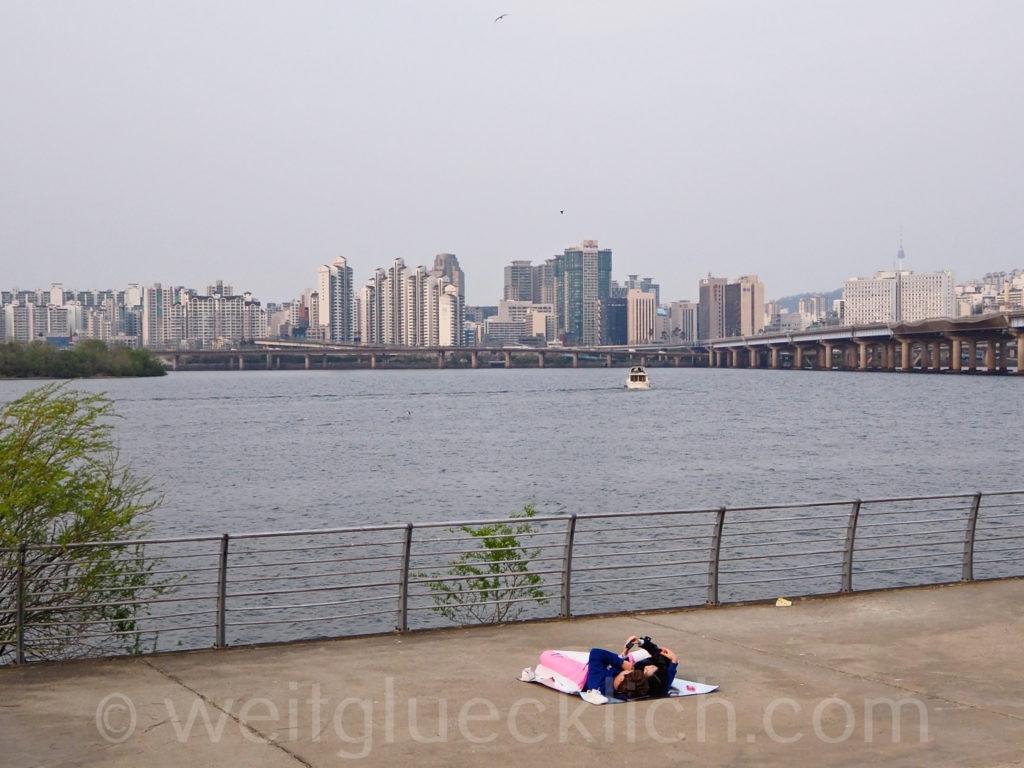 Weltreise 2020 Suedkorea Seoul Hangang Park Ufer