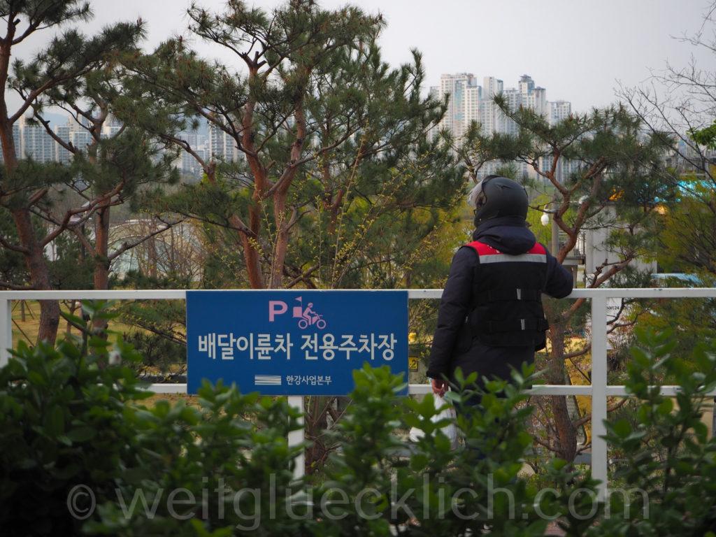 Weltreise 2020 Suedkorea Seoul Hangang Park food delivery Essens-Station
